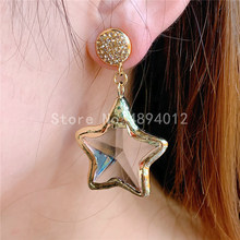 5pairs,Crystal Dangle Earrings, Women Fashion Jewelry, The Big Star Design, 2colors, Top Quality Plated,Can Wholesale.