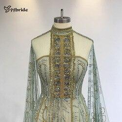 Yybride cor verde mão trabalho miçangas vestidos de baile mangas compridas com trem alta pescoço luxo vestidos de noite ocasião sob medida