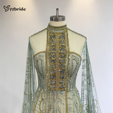 yybride Green Color Hand Work Beading Prom Dresses Long Sleeves with Train High Neck Luxury Bespoke Occasion Evening Dresses