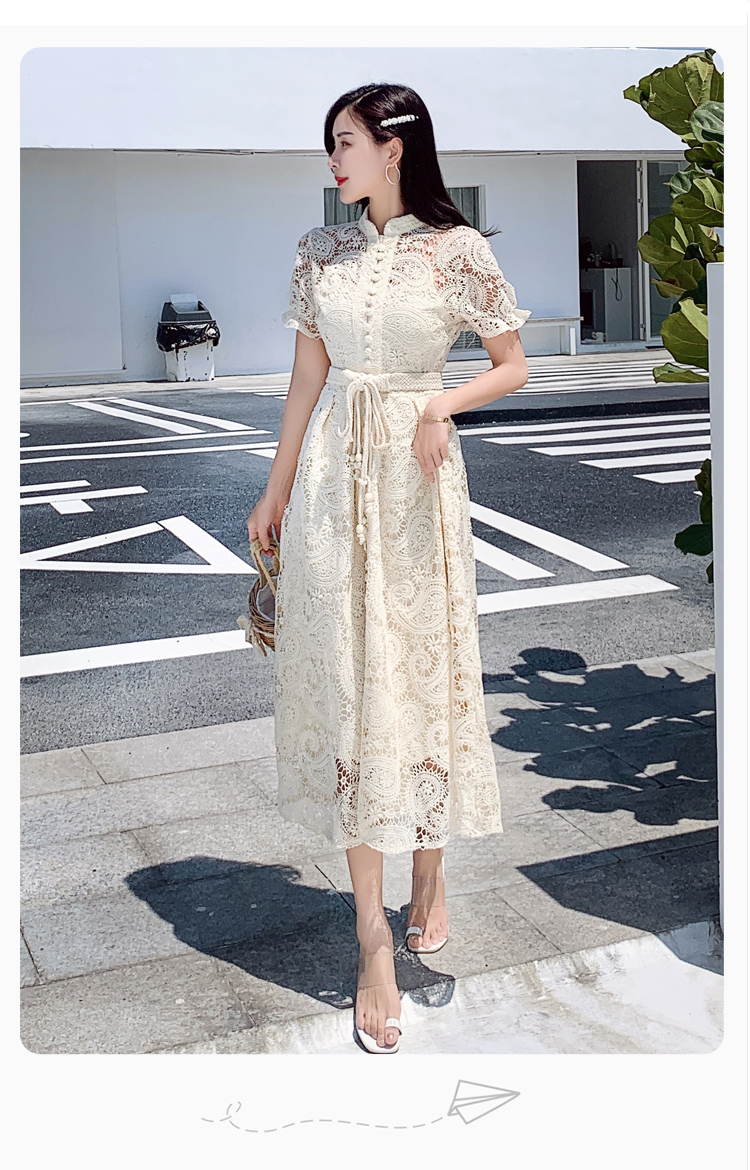 Elegant Lace Crochet Women Dress Stand Collar Short Sleeve High Waist Midi Dresses Female Fashion 2020 New Summer Chic