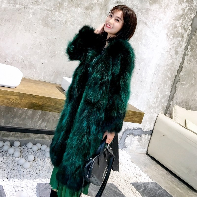 Luxury Women Real Fox Fur Long Coat Thick Warm Shearling Overcoat Party Hairy High Quality Natural Fox Fur Outwear Long Jacket