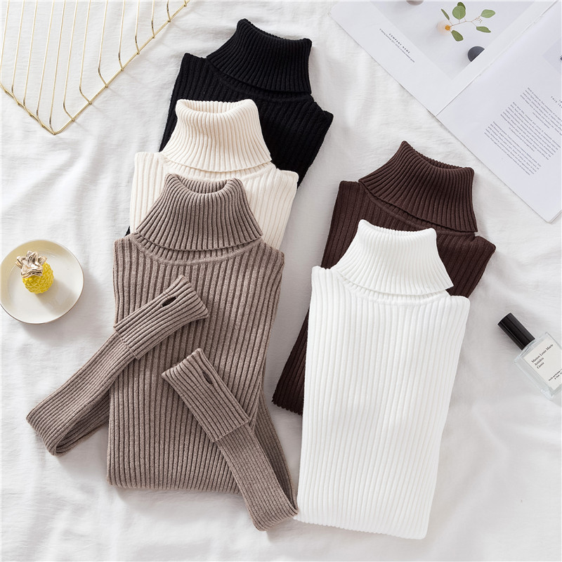 Languid Turn Over High Collar Finger Hole Sweater In Autumn Winter Warm Thickened Pullover Elastic Bottoming Sweater