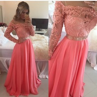 Off the Shoulder Long Sleeve Chiffon Coral Prom Dress with Pearls Beaded Lace Appliques Long Formal Evening Gown