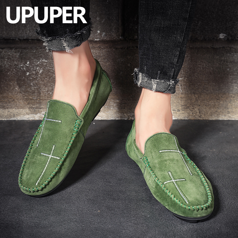 PU Leather Mens Loafers Handmade Moccasins Flats Sandal Boats Shoes Size 38~47