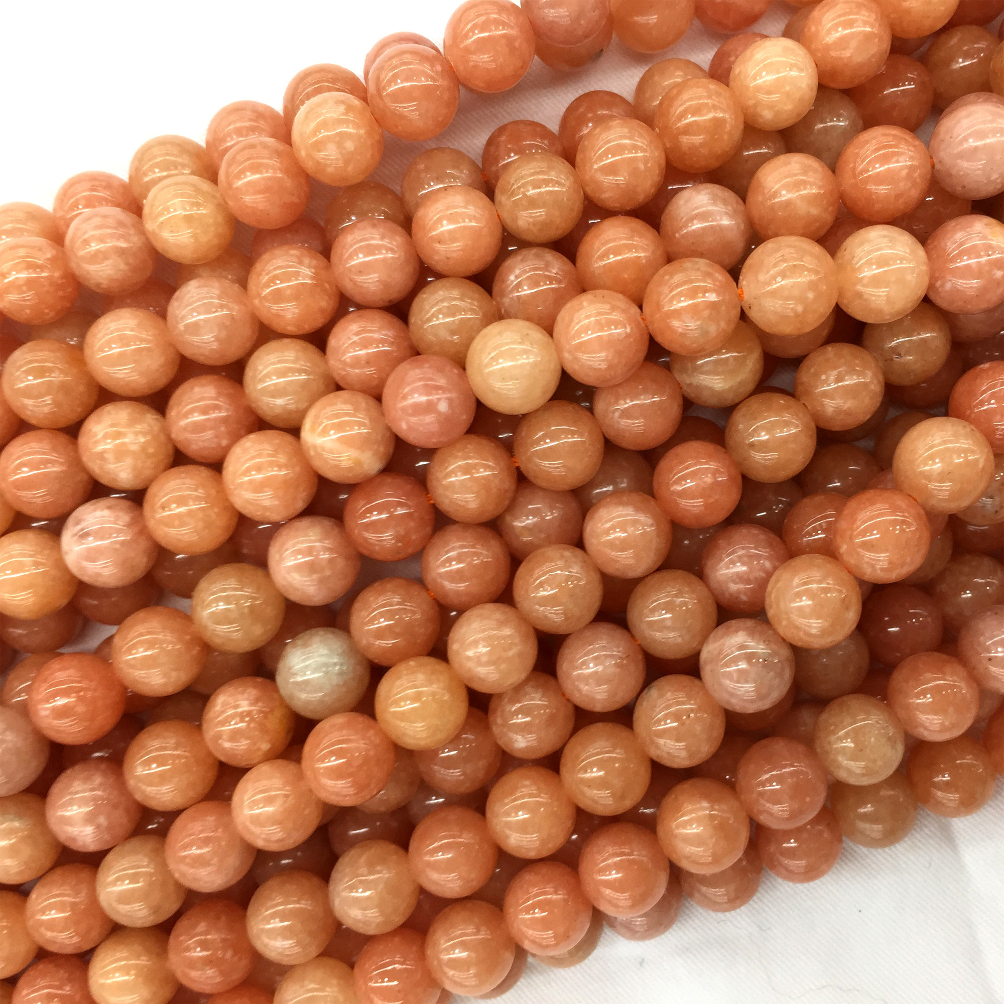 High Quality Natural Genuine South Africa Orange Pink Calcite Round Jewellery Loose Ball Beads 6mm 8mm 10mm 15