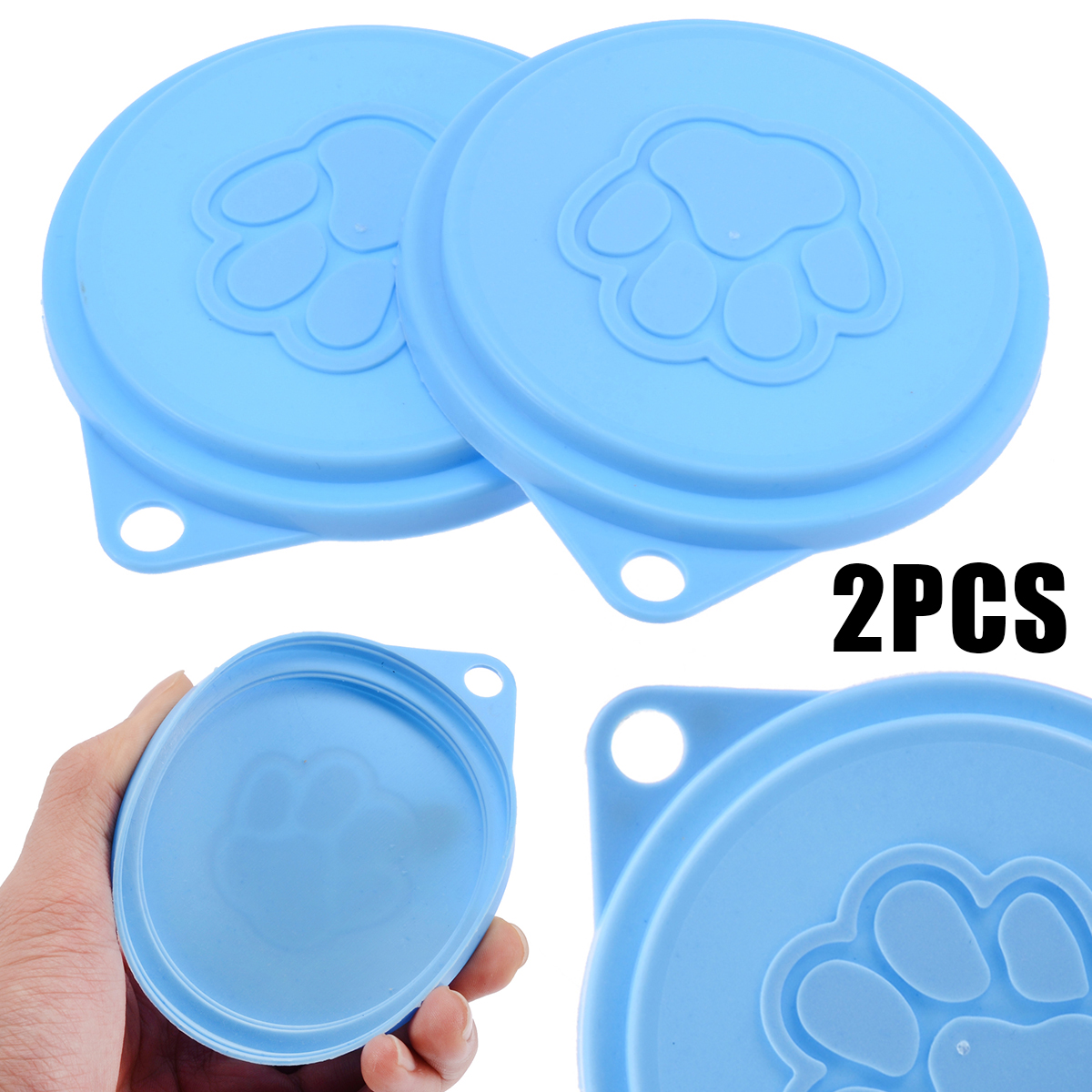 2pcs/set Reusable Pet Food Storage Can Tin Cover Lid Top Cap For Puppy Dog Cat Random Color