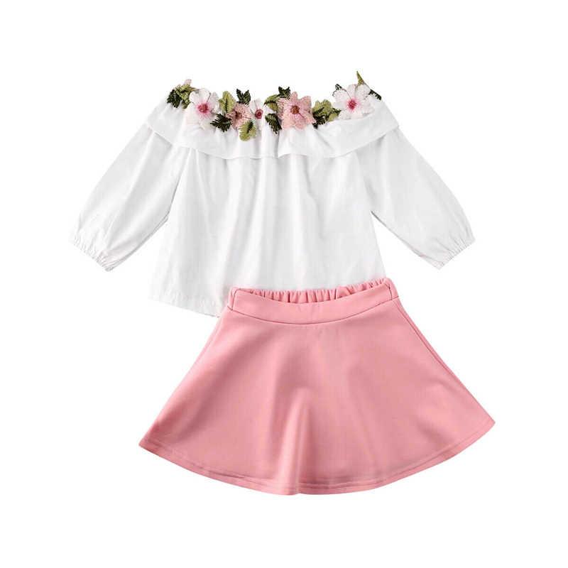 2020 유아 어린이 아기 소녀 옷 꽃 자 수 T-셔츠 + 치마 복장 여름 긴 소매 소녀 의류 1-6Y