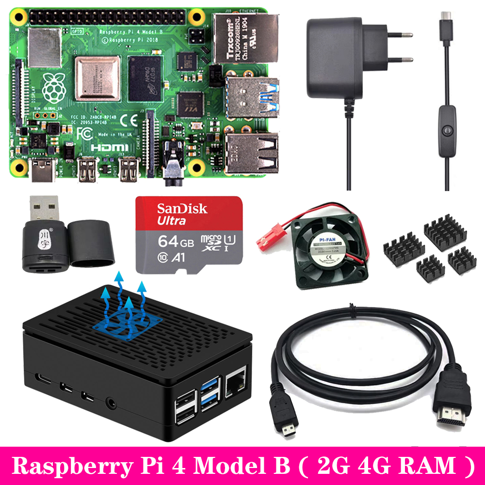 Raspberry Pi 4 2GB 4GB RAM With ABS Case Power Supply Aluminum Heat Sink Micro HDMI Cable For Raspberry Pi 4 Model B Pi 4B Pi4