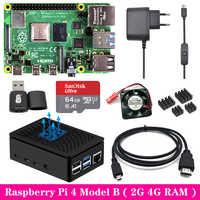 Raspberry Pi 4 2GB 4GB RAM con caja ABS fuente de alimentación de aluminio disipador de calor Micro HDMI Cable para Raspberry Pi 4 Modelo B Pi 4B Pi4