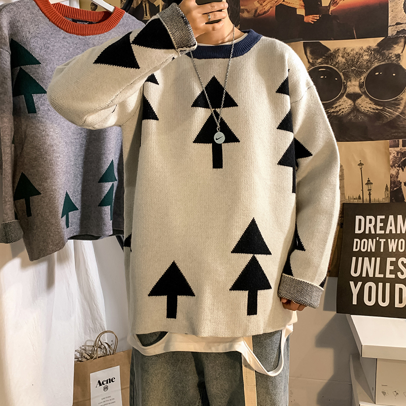 Christmas Tree Sweater Men's Warm Fashion Contrast Color Casual O-neck Pullover Men Knitting Sweaters Male Sweter Clothes