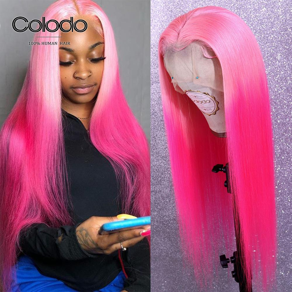 COLODO Rose Pink Straight Lace Front Wig Preplucked With Baby Hair Brazilian Remy Ombre Blue Full Lace Human Hair Wigs For Women
