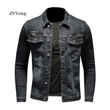 European Style Single Breasted Bomber Pilot Black Denim Jacket Men Jeans Coat Motorcycle Casual Slim Outwear Clothing Overcoat