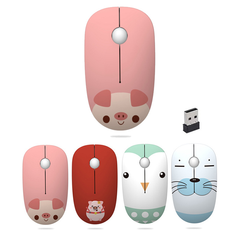 2.4G USB Wireless Mouse 1600DPI Girls Cute Animals Gaming Mouse For Macbook Lenovo ASUS DELL HP Laptop PC Computer Mice Women