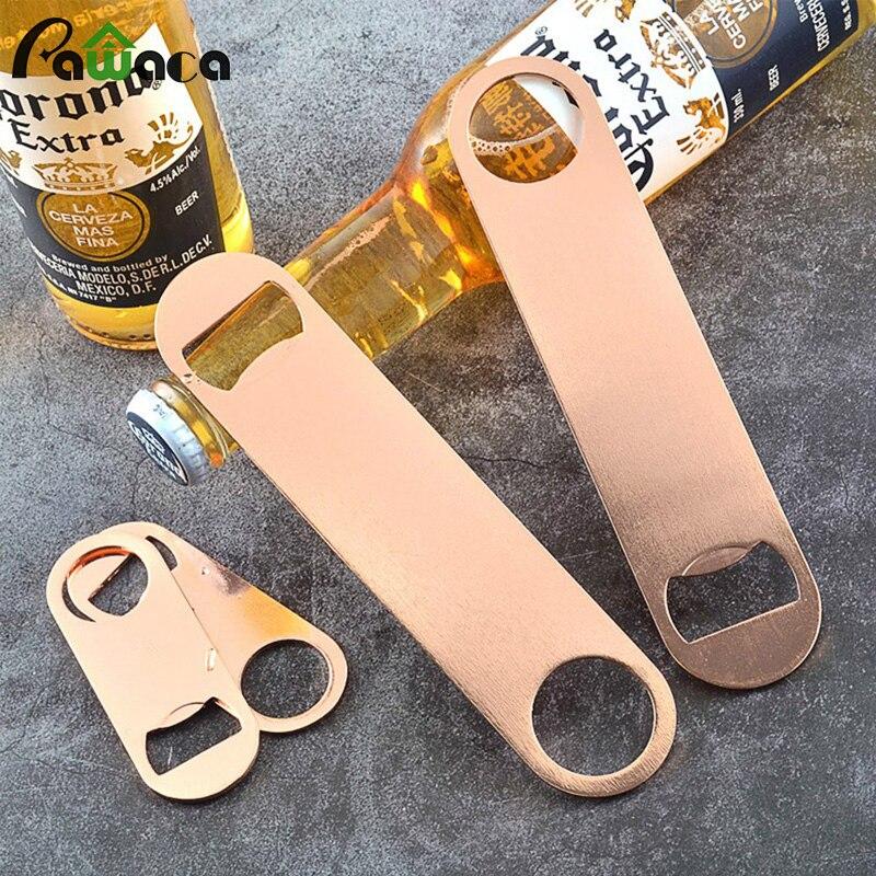 2 Size Portable Beer Bottle Opener Rose Gold Oval Stainless Steel Can Jar Bottle Bar Beer Opener Kitchen Gadget Party Favor Gift