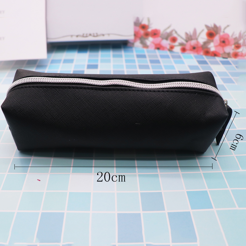 Simple Black Leather Pencil Case High Capacity Business Pencilcase For Kids School Office Gift Supplies Creative Stationery