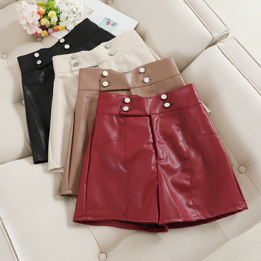 INS Hot PU Leather Shorts Women 2019 Autumn Winter Fashion High Waist Button Wide Leg Shorts Loose Ladies A Line Shorts Femme