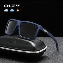 Oley óculos de sol esportivo polarizado, óculos de sol esportivo da moda, fotocrômico, lentes de estiramento, pintura noturna, suporte a logotipo personalizado