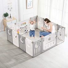 Children Playpen Game Barrier 14-panel Crawling Foldable Fences  With Safety Gate Toy board Activity Space For Indoors Outdoors
