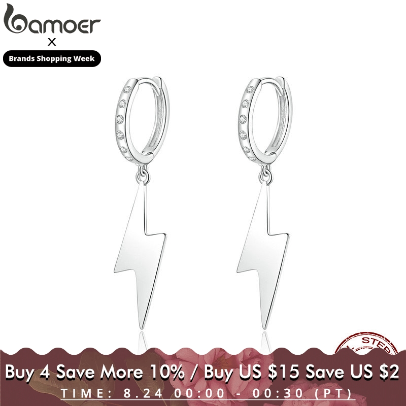 bamoer Flash Lightning Dangle Earrings with Charm 925 Sterling Silver Femme Hiphop Earrings for Wome Men Unisex Jewlery BSE221
