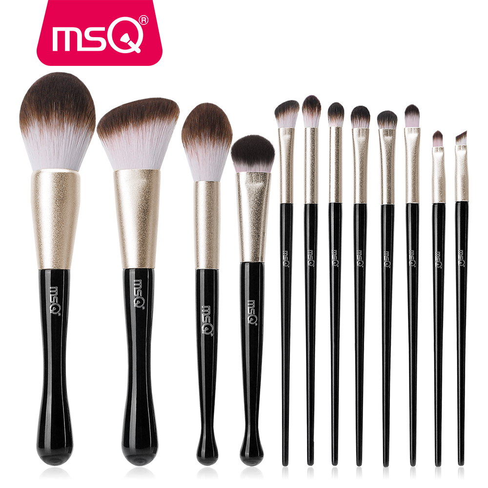 MSQ Makeup Brushes Set Professional 12pcs Cosmetic Powder Eyeshadow Contour Foundation Make Up Brush Kit Synthetic Hair in Eye Shadow Applicator from Beauty Health