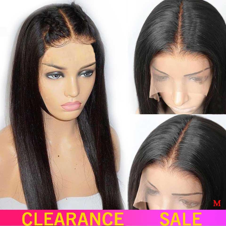 13x4 frente do laço perucas de cabelo humano 150% parte livre brasileira reta perucas de frente do laço com cabelo do bebê para preto não remy