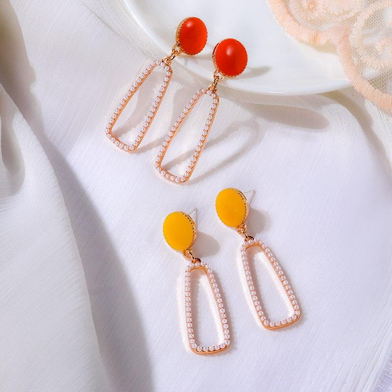 POXAM 2020 Fashion Korean Pearl Gold Drop Female Earrings For Women Vintage Geometric Long Dangle Hanging Earrings Girls jewelry