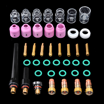 41Pcs TIG Welding Torch Stubby Gas Lens Pyrex Glass Cup Kit Durable Practical Welding Accessories Easy Use For WP-17/18/26 цена 2017