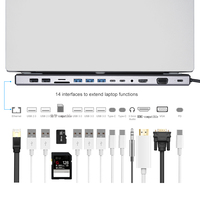 14-In-1 Type C Hub USB C to HDMI VGA RJ45 USB 3.0 Ports SD/TF Card Reader USB-C Power Delivery for MacBook Pro With PD