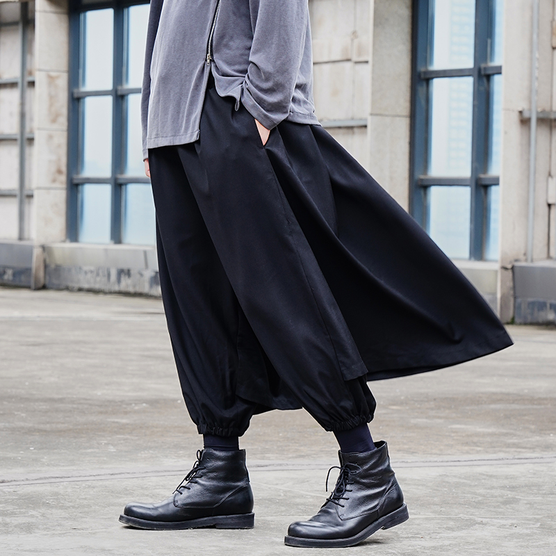 Men Dark Black Casual Loose Skirt Pants Male Japan Streetwear Hip Hop Gothic Punk Wide Leg Trousers Harem Pant