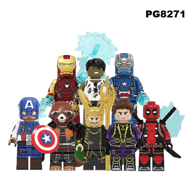 Building Blocks Super Heroes Brick Iron Man Captain America Deadpool Hawkeye Hulk Rocket Racoon Figures Toys For Children PG8271