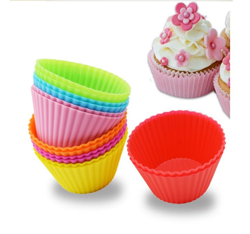 12pcs Silicone Muffin Molds Cupcake Colorful Baking Cups Round Shape