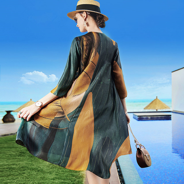 ZUOMAN Silk Dress New Summer Women Loose Plus size Casual Dress OL work Wear Vintage Print beach Sundress dresses vestidos 3
