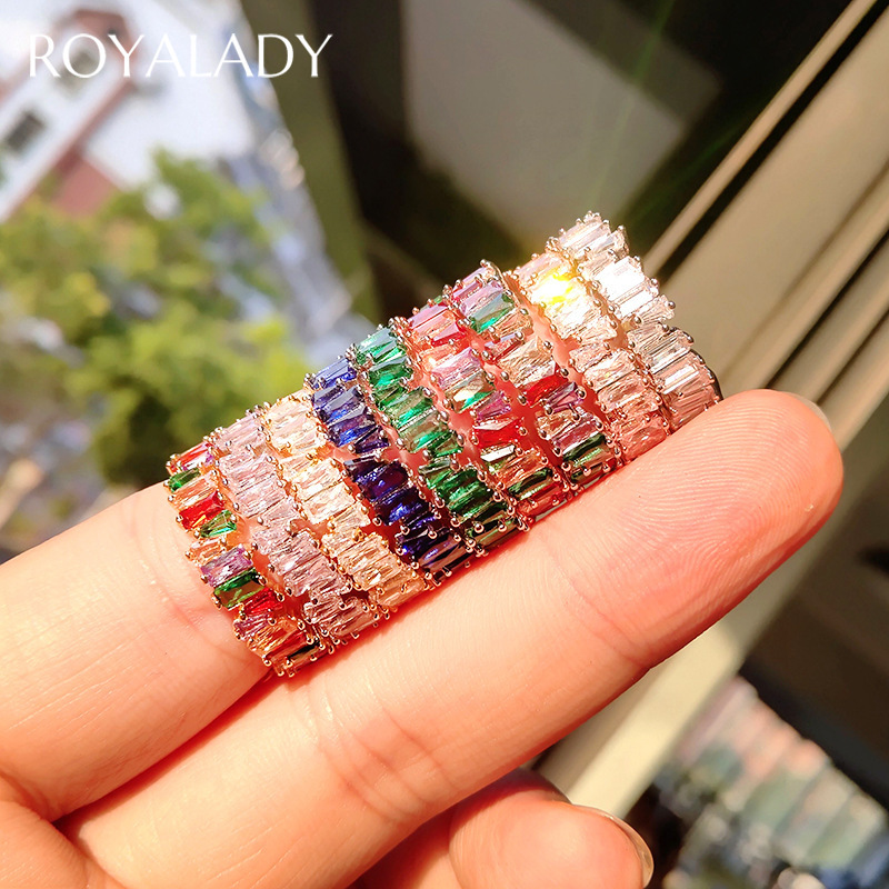 Luxury Charm Baguette Rainbow CZ Gold Rings Fashion AAA Cubic Zirconia Crystal Band Engagement Wedding Party Rings Female Gifts