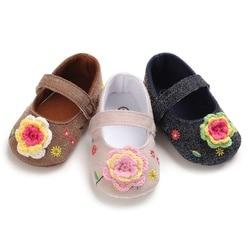 Baskets antidérapantes à semelle souple pour bébé fille   Baskets d'automne à fleurs, semelle souple, chaussures de princesse
