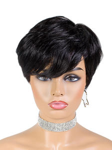 SSH Wigs Short Human-Hair Pixie-Cut Straight Women Brazilian Black-Color with 1b-Off