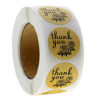 500 Labels Per Roll Round Natural Kraft Thank You Sticker Seal Labels Flowers Sticker  Scrapbooking Paper Stationery Sticker
