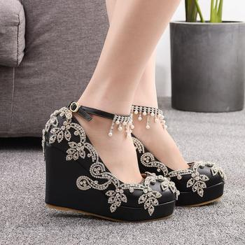 Women Wedges High Heel Shoes with Crystal Ankle Straps Fashion AB Crystal Bridal Wedding Shoes Plus Size Mother Bride Shoe