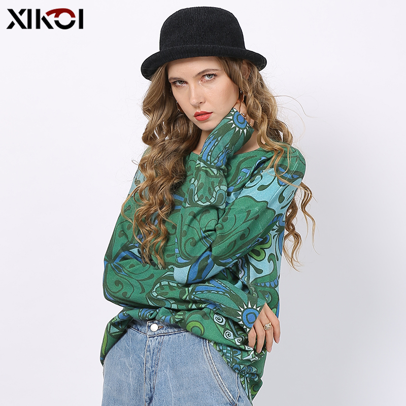 XIKOI Green Long Sweaters For Women Winter Fashion Totem Print Pullovers Oversized Bohemian Style Knitted Jumper Tops Pull Femme