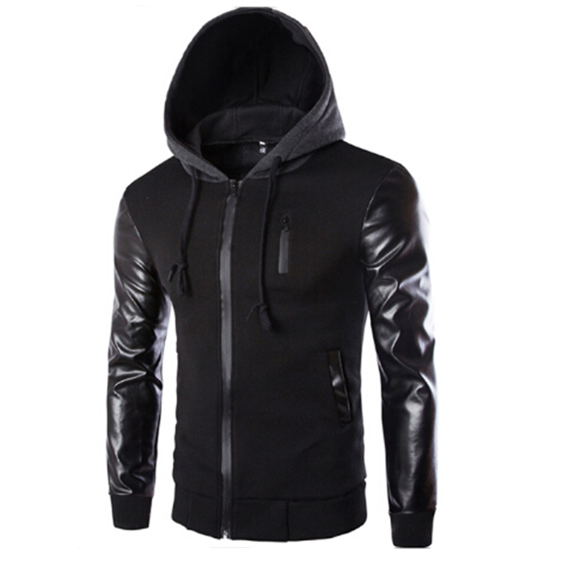 High Quality New Men Hooded Jacket And Coat Autumn Casual PU Leather Sleeve Slim Outerwear Coat Men Zipper Coat Hoody Sportswear