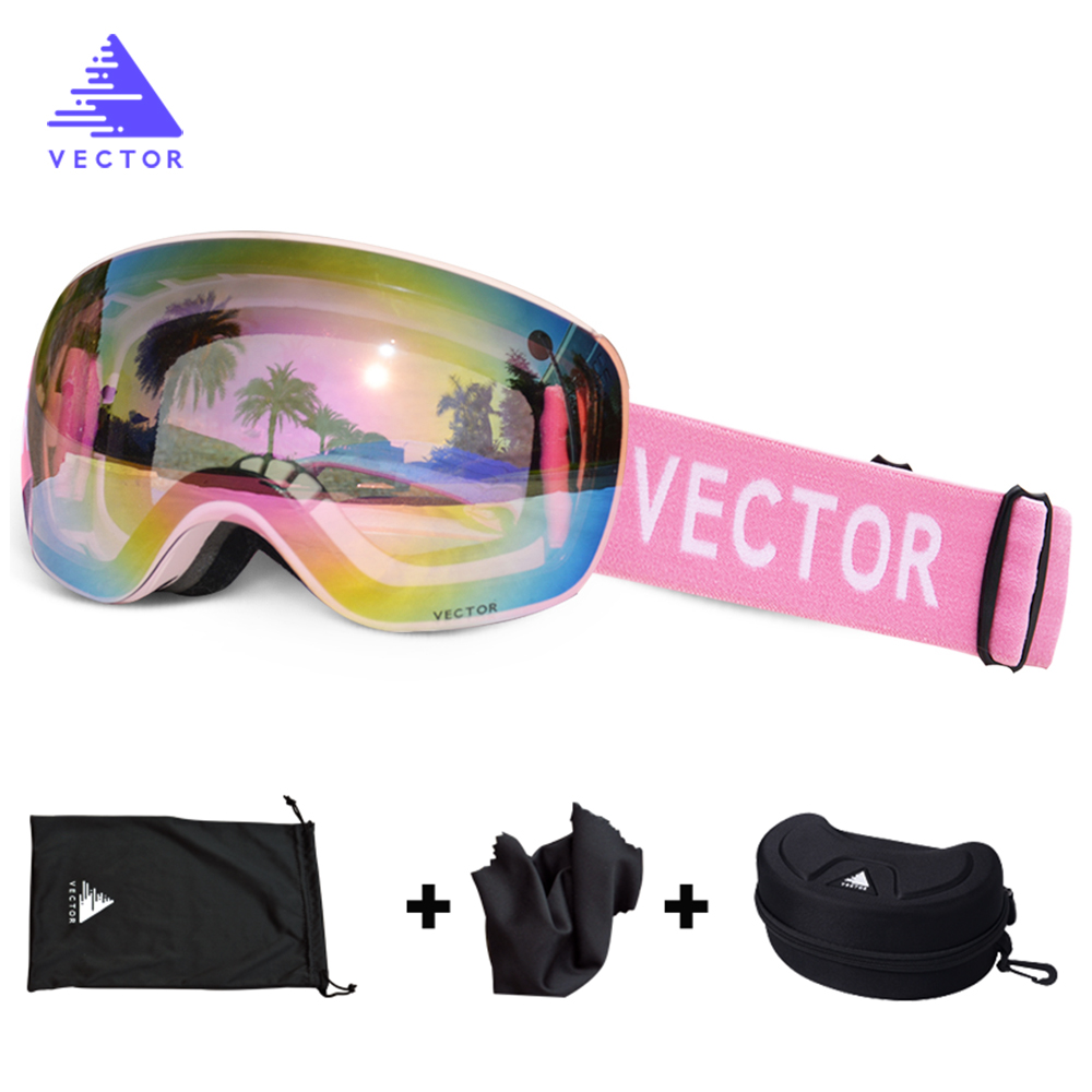 OTG Ski Goggles With Case Snow Sport Rimless Glasses Interchangeable Spherical Lenses Double-layered Skiing Snowboard Anti-fog