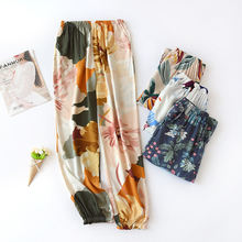 Женские пижамы штаны с цветочным принтом одежда для сна домашняя