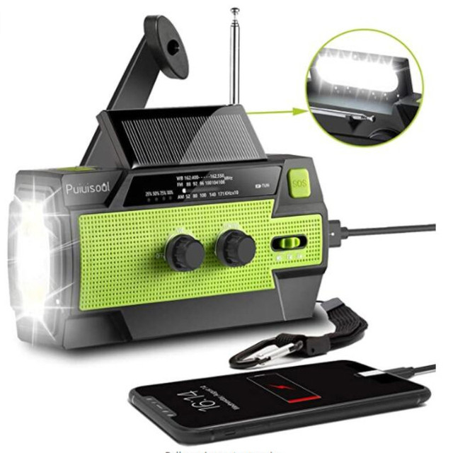 Outdoor Emergency Solar Hand Crank Weather Radio 4000mAh Power Bank Charger Flash Light Emergency Dynamo For Outdoor Activities 1