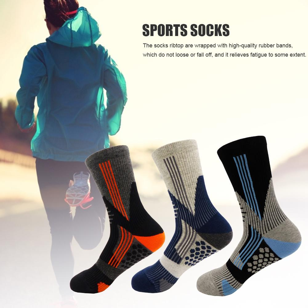 1 Pair Men Thermal Sports Socks For Outdoor Cycling Basketball Running Winter Hiking Anti-slip Shock Absorption Breathable Socks