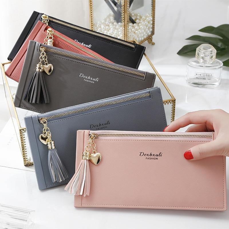 New Style Women's Long Wallet Korean-style Fashion Multi Card Bit Zipper Card Clamp Large-Volume Tassels Women's Card Holder
