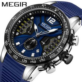 цена MEGIR Men Sport Watch Chronograph Silicone Strap Quartz Army Military Watches Clock Men Top Brand Luxury Waterproof Watch онлайн в 2017 году