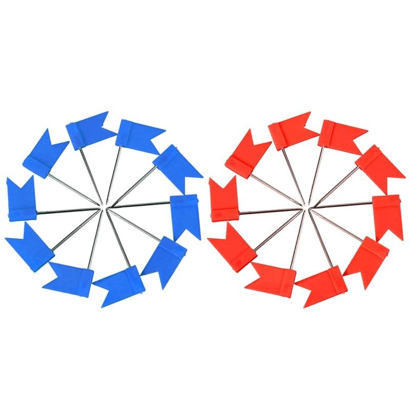 200 Flag Shape Map Pins Cork Notice Board Drawing Pins Push Pin Blue & Red