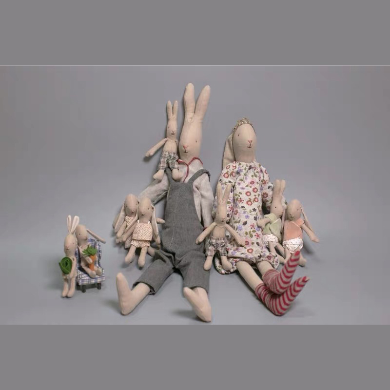 46cm Cute little rabbit hand-made cotton and hemp doll cloth art plush toy comfort doll girl and boy gift