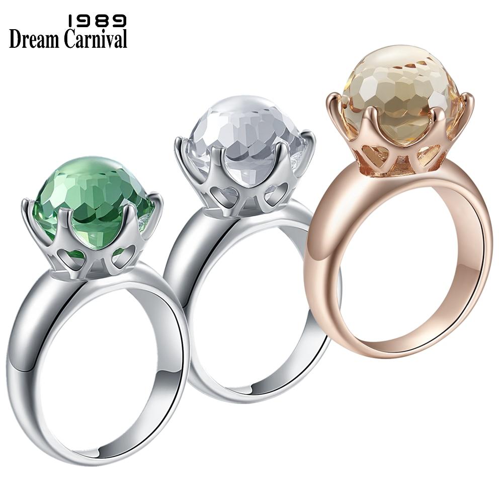 DreamCarnival 1989 New Special Cut Solitaire Women Love Wedding Ring Green White Champagne Zircon 6 Prawn Crown Jewelry WA11498W
