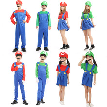 Cosplay Super Mario Costume Luigi Bros Anime Clothes Jumpsuit Sets Halloween Christmas Family Party Cos