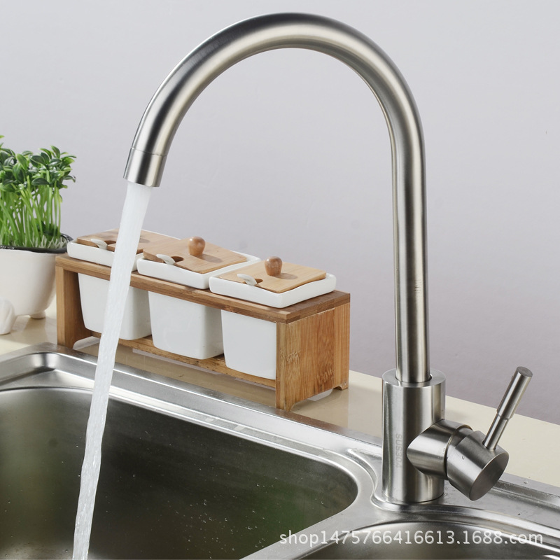 Guangdong Water Gap Kitchen Faucet SUS304 Stainless Steel Washing Basin Hot And Cold Sink Rotating Leading Brushed